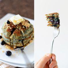 {vegan} blueberry muffin pancakes