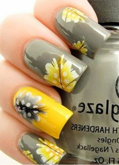 Yellow and Gray Feather Nail Art