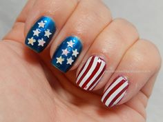 Stars N Stripes from lacquerorleaveher.blogspot.com  featuring MASH Nails 3D Confetti