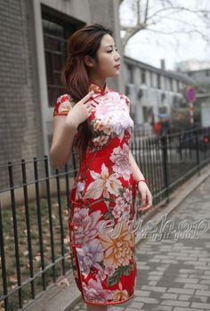 red silk cheongsam dress scs17 - Custom-made Cheongsam,Chinese clothes, Qipao, Chinese Dresses, chinese clothing,EFU Tailor Shop $180