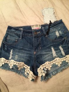 HOT! Distressed Denim and Lace Shorts! Kiss my blues away HOT KISS!