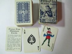 PLAYING-CARDS-MINIATURE-PETER-PAN-COMPLETE-VINTAGE-COLLECTIBLE