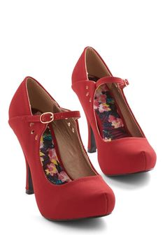 Beautiful crimson red high heel shoes