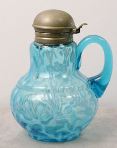 VICTORIAN BLUE OPALESCENT CORAL REEF SYRUP PITCHER / SEAWEED SYRUP PITCHER