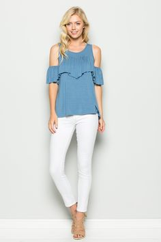 Cold Shoulder Round Neck Ruffle Top   T1009   Annabelle