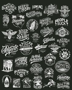 A collection of the most entire works I've done since day one, but still not all of those. I'll do it super little tiny if all the projects… Vintage Logo Design, Vintage Fonts, Vintage Lettering, Vintage Labels, Lettering Design, Branding Design, Typographie Logo, Badge Design, Badges