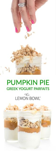 These thick and creamy pumpkin pie parfaits are filled with vanilla Greek yogurt, crunchy granola and creamy pure pumpkin. A perfect make-ahead breakfast, snack or dessert recipe! Good Healthy Recipes, Healthy Breakfast Recipes, Easy Recipes, Healthy Desserts, Fall Desserts, Pie Recipes, Potato Recipes, Healthy Choices, Healthy Foods