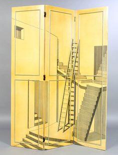 Architectural Perspective Drawings - Painted Screen. Bijzonder verschillende soorten trappen, en dan a la trompe l'oeil.