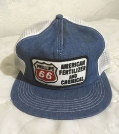 805610522e7a0 80s American Fertilizer Chemical Phillips 66 Mesh Denim SnapBack Trucker  Hat Cap