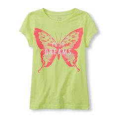 s Short Sleeve 'Follow Your Dreams' Butterfly Glitter Graphic Tee - Green T-Shirt - The Children's Place