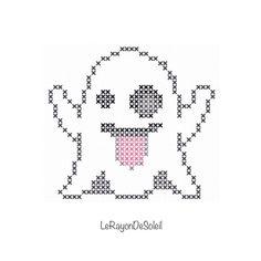 Mini Ghost Emoji halloween cross stitch pattern PDF instant download.