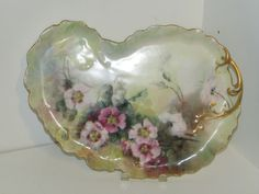 """ANTIQUE W.G.& CO. LIMOGES HAND PAINTED 13"""" VANITY TRAY W/GOLD TRIM-FRANCE"""