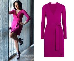 Diane Von Furstenberg Pink Linda Knitted Wrap Dress as seen on Lana Parrilla in the April 2014 edition of Regard magazine (no longer available)