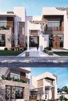 Wood House Design, Villa Design, Modern House Design, Elevation Plan, House Elevation, Home Building Design, Building A House, Kim House, Classic House Exterior