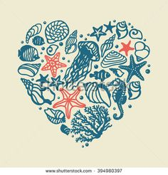 vector heart with sea shells. It can be used for wallpaper, fabric design, textile design, cover, wrapping paper, banner, card