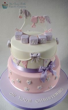 Rocking Horse Christening Cake by The Clever Little Cupcake Company (Amanda).would love to do this as a baby shower cake! Gateau Baby Shower, Baby Shower Cakes, Baby Shower Cake For Girls, Rocking Horse Cake, Christening Cake Girls, Baptism Cakes, Bolo Minnie, Gateaux Cake, Birthday Cake Girls