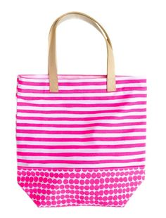 Stripe and Dot Print Canvas Tote #mothersday