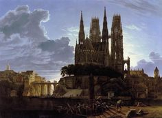 Karl Friedrich Schinkel (1781-1841) - Medieval Town by Water, 1813