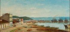 Benedito Calixto - Rampa do Porto do Bispo em Santos - c. 1900 – óleo sobre tela - 39 x 84 cm
