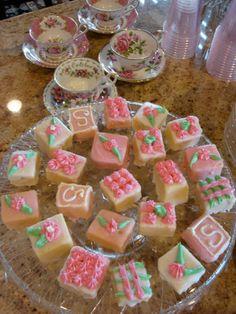 Petit fours for a tea party baby shower    belle maison: Baby Shower Tea Party