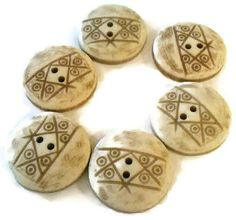 6 flat back tan buttons by CRAZYBUTTONDESIGNS13 on Etsy, $2.50