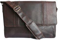 """Large Men's Brown Leather Messenger Bag – Landscape Size"""" width="""