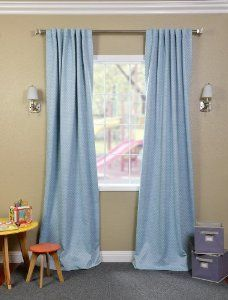 """$16.99/panel Light blue w/white dots, blackout curtains 108"""" long (just hem--the 84"""" panels were almost $40 each)"""