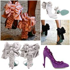 """DIY Shoe Inspiration. Alexis Mabille S/S09 """"Bow"""" Court Shoes. How easy would this be to upgrade a cheap pair of shoes? Photos found from Upper Left Clockwise: Sauce here: http://sauceloves.com/2011/04/15/alexis-mabille/  The purple shoes here: http://www.shoeperwoman.com/2009/08/alexis-mabille-purple-suede-bow-court-shoes.html  The rest are from here: http://www.highsnobette.com/news/2009/03/02/alexis-mabillebow-court-shoes/mabille-1/   #diy #crafts #diy_fashion #fashion #sewing #bows…"""