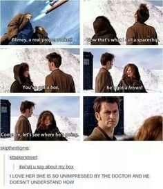 Poor Doctor:( Donna talking shit about your TARDIS. Remember when the Doctor compared it to Jack's time hopper? David Tennant, Fandoms, Space Man, Sherlock, Serie Doctor, Doctor Who Funny, Doctor Who Tumblr, Supernatural, 10th Doctor