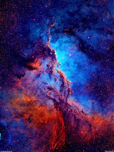"""""""Dark shapes with bright edges winging their way through dusty NGC 6188 are tens of light-years long. The emission nebula is found near the edge of an otherwise dark large molecular cloud in the southern constellation Ara, about 4,000 light-years away."""" awesome space photography full of a blue, cyan, red, magenta, fuchsia and really a billion other colors"""