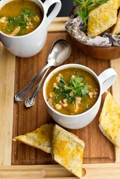 Mushroom Millet Soup With Cheezy Garlic Bread Recipes — Dishmaps