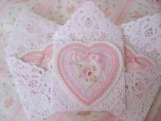 Shabby Roses Valentine Heart cards - love the lace doily envelopes Roses Valentine, Love Valentines, Valentine Heart, Vintage Valentines, Valentine Crafts, Valentine Day Cards, Victorian Valentines, Pretty Cards, Love Cards
