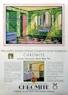 1930 US Gypsum ad - gorgeous green and purple Art Deco bathroom