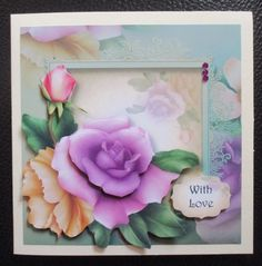 Yellow   Lilac on Craftsuprint created by Davina Rundle - I printed on to matte photo paper. Mounted the topper on to a card and layered. Added a sentiment and gems. A gorgeous design.