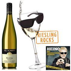 Riesling Rocks 6 Flaschen Weißwein Weingut F. E. Schott Riesling Kabinett Nahe lieblich plus Heino-CD, plus Poster A1 Land / Region / Weingut Deutschland Nahe Weingut F. E. Schott Weißwein .lieblich