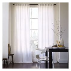 "West Elm Cotton Canvas Pole Pocket Curtain + Blackout Panel, 48""x96"",... ($55) ❤ liked on Polyvore featuring home, home decor, window treatments, curtains, white, rod pocket curtains, canvas panels, blackout curtains, tab top curtains and white tab top curtains"