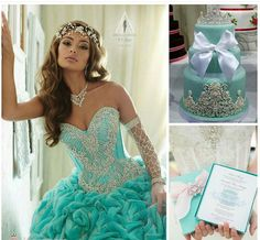 I love these colors and themes.  Gotta love the jewelry sleeve and tiara headband.  Tiffany blue.