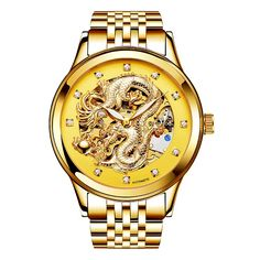 Brand NARY Gold Dragon Skeleton Automatic Mechanical Watches For Men Wrist Watch Steel Strap Gold Clock Waterproof Mens Diamond Watches For Men, Gold Dragon, Skeleton Watches, Mechanical Watch, Cool Watches, Men's Watches, Watch Sale, Automatic Watch, Watch Brands