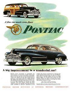 Pontiac DeLuxe Streamliner Sedan-Coupe/Station Wagon Ad (1948): A big…