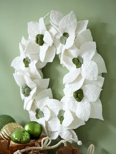 Felt Poinsettia Wreath    This lovely poinsettia wreath only looks delicate -- its lasting felt construction earns it keepsake status. Placed above a mantel or on a bare wall, it makes a lovely, soft decoration.