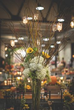Elegant floral arrangement on a table at the big fake weeding event