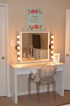 My vanity!!! So excited about it! Mirror, lights and vanity - Ikea, Ghost Chair - Staples and Picture - Marshalls