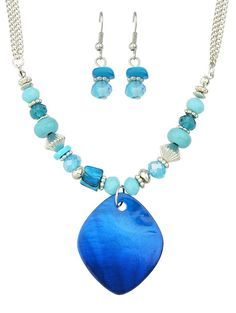 Turquoise Faux Crystal Necklace and Earrings 3.50 USD