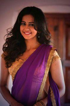 Rakul looking beautiful in half Saree