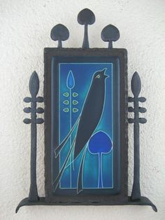 arts & crafts motawi songbird tile plaque in wrought iron -right facing- on Etsy, $395.00