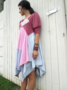 small - xlarge - romantic Upcycled clothing / Patchwork Shirt Dress / Funky Tunic Dress / Eco Dress / Artsy Dress by CreoleSha