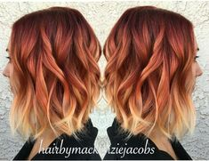 71 most popular ideas for blonde ombre hair color - Hairstyles Trends Hair Color Auburn, Auburn Hair, Ombre Hair Color, Fire Ombre Hair, Fire Hair, Short Red Hair, Short Hair Styles, Short Ombre, Pelo Guay