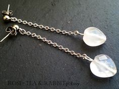 Semi Precious Rose Quartz Facet Cut Heart Shaped Bead Earrings With Silver Chain Drop by RoseTeaAndRabbit https://www.etsy.com/uk/listing/206845755/semi-precious-rose-quartz-facet-cut