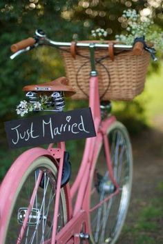 www.weddbook.com everything about wedding ♥ An alternative wedding transport option :)  #wedding #bicycle #country #pink