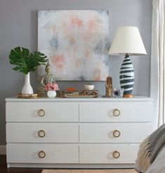 Practical tip from Gates: IKEA Malm Dresser hack with added brass ring hardware.